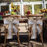 Decoración Festival de decoración de la boda del cordón del Bowknot para sillas de cubierta arpillera Presidente Fajas decoración de la boda de la vendimia DIY Crafts