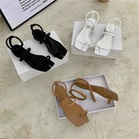 Flat Heel Toe- split Leather Sandals White Black Trendy Summe...