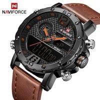 Mens Relógios Homens Couro Relógios Esportivos NAVIFORCE Quartzo Masculino LED Relógio Digital À Prova D 'Água Militar Relógio de Pulso