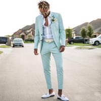 2020 Nane Mavi Erkek Iş Takım Elbise Slim Fit İki Adet Plaj Groomsmen Düğün Smokin Erkekler Için Doruğa Yaka Resmi Balo Suit (Ceket + Pantolon)