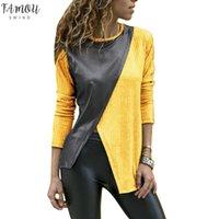 Moda Kobiety Faux Skórzany Patchwork Kolor Blok Nieregularny Z Długim Rękawem Poliester T Shirt Drop Wysyłka Dobra jakość