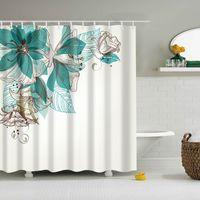 Poliéster cortina de chuveiro do verde Folhas de impressão Cortina de Banho de chuveiro com Hooks impermeável Bath Cortinas 180 * 180 centímetros