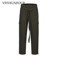 VFIVEUNFOUR 2019 Sweatpants Ankle Drawstring Casual Track Pants Hip hop Loose Fit Elastic Waist Trousers Army green black Pants