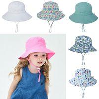 Ins Детская ведро шляпа шляпа солнца рыбы козырек цветок животных динозавров напечатаны Sunhats Baby мода летний шлем Topee 16 цветов