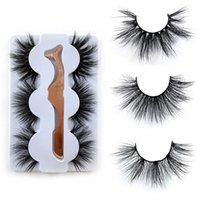 3 pares 3d 25mm olho cílios de olho com pinça pinça 100% siberiano fofo fofo cílios Cruelty-free cross grossos longos cílios falsos