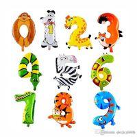 16 дюймов животных алюминиевая фольга шар шар 0-9 мультфильм номер дети дети рождения украшения гелия воздушные шары свадьба украшения украшения