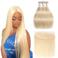 현대 쇼핑 613 번들 정면 금발 스트레이트 헤어 브라질 머리카락 짜기 인간의 머리카락 묶음 정면 레미 무료 배송