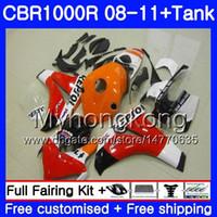 Bodys + réservoir pour Honda CBR 1000RR CBR 1000 RR REPSOL RED Orange 2008 2009 2011 277HM39 CBR1000 RR 08 10 11 CBR1000RR 08 09 10 11 Catériel