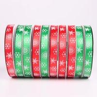 25yards / roll fiesta de Navidad del Grosgrain de la cinta del satén para la boda decoración DIY de las cintas del arqueamiento de la Navidad Tarjeta Envoltura de regalo Suministros DBC VT0745
