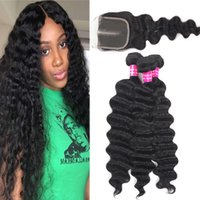 9A Remy Brazilian Hair Loose Deep Hair Bundles With Lace Clo...