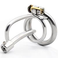 Dispositivo in acciaio inox castità con il giocattolo del sesso catetere cazzo piccolo gabbia metallica pene Ring Lock Bdsm per gli uomini