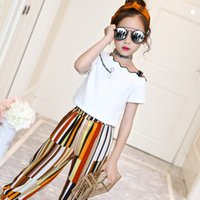 Summer 2019 Kids Fashion Girls Clothing Sets 2Pcs White Blou...