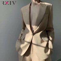 Frauenanzüge Blazer Rziv Frühling und Herbst Weibliche Jacke Lässig Massivfarbe Einzelner Knopftasche dekorativ