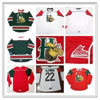 Дешево QMJHL Halifax Mooseheads CCM Jersey 22 Nathan Mackinnon 13 Nico Hischier 27 Jonathan Droouin красный белый зеленый хоккей