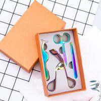 Makyaj Aracı Renkli Altın Paslanmaz Çelik Kaş Makas Vizon Kirpik Cımbız Kirpikleri Bigudi Seti Saç Kesme Makyaj Makas Set 3d