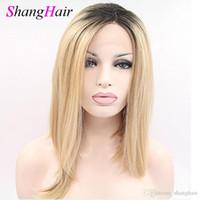 Дешевые Синтетический волос Парик фронта шнурка T1b 27 Цвет бразильский человеческих волос прямой парик для женщин Бесплатная доставка