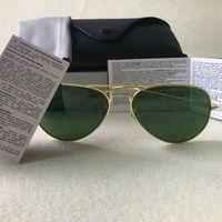 Piloto Estilo óculos de marca Designer óculos de sol para mulheres dos homens do metal Quadro de Flash Espelho Lente de vidro Moda Óculos de sol Óculos de sol 58 milímetros 62mm