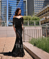 Sexy Black Sequin Off Shoulder Beading Evening Dresses Speci...