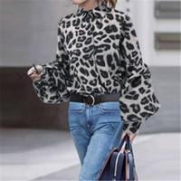 Женщины рубашка с длинным рукавом дизайнер Leopard зерна Пятна Стенд Воротник Хлопок Мода Рубашка Летняя леди Одежда
