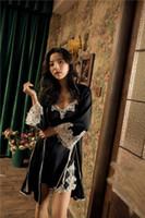 Donne Casa All'ingrosso-Charming vestaglia sexy raso degli indumenti New Spring 2PCS Nighty + Robe sonno Flower Set Kimono Trim Bath Gown