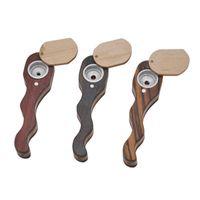 Tuyau en bois Serpentine Bend Pipes Bois fumeurs avec couvercle rotatif pratique pour transporter du tabac en gros Accessoires 8 5yh H1