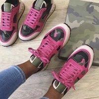 Sneaker camouflage rockrunner Designer de luxe Clouté chaussures de designer Hommes Femmes Chaussures de sport Flats formateurs Mesh Cuir Combo Rock Runner Chaussures