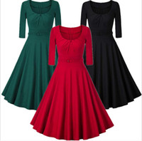European and American Foreign Trade Summer Seven-Sleeve Retro-Ancient Dress Dresses with Slender Waist and Round Collar