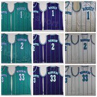 Männer Vintage Basketball Alonzo Trauerjersey 33 Tyrone Muggsy Bogues 1 Larry Johnson 2 Grün Weiß Lila Team genäht Gute Qualität