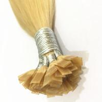 14-24 inç 1 g / strand, 100 tellerinin, renk 613 Hint remy saç ön-kemikli kapsül saç düz ucu saç uzatma İtalyan keratin