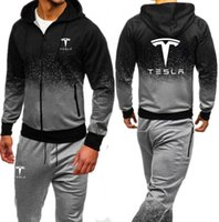 Tesla Print Tuta da uomo 2019 Autunno Sportwear Mens Set 2PC Zipper Hooded Felpa Jacket + Pant Moleton Masculino Sets