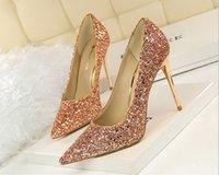 Ouro lantejoulas casamento nupcial Calçados Modest Moda Éden salto alto Mulheres Partido Evening Party Dress Shoes