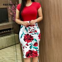 Casual Dresses VieiSta Frauen Sommer 2021 Eleganter Blumenstift Sexy Oansatz Bodycon Party Kleid 2XL Office Lady Vestidos