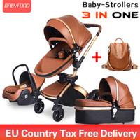 Brand Newborn PRAM BABYFOND 3 en 1 Cochecito de bebé PU de cuero Push de dos vías Push 360 Gire el coche del bebé