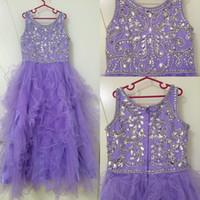 2020 Nuevo Lila Flor Vestidos para niñas para bodas Cuello de joyas Largo Cristal Aseo Ruffles Terred Tulle Children Niños Partido Fiesta Vestidos
