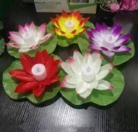 LED Lotus lampe colorée changé flottant Piscine d'eau Souhaitant Lumière flottante Fleur de Lotus Bougie Lampe Party Decoration Lampes souhaitant ALSK116