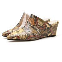 Pantofole da donna poco profonda punta a cuneo cuneo stampe animale casual scarpe chiuse da lavoro sandali famua bellezza chaussures femme