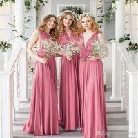 싼 새로운 멀티 컬러 2020 신부 들러리 드레스 섹시 민소매 백리스 크리스 크로스 스트랩 컨버터블 신부 들러리 공식적인 드레스 FS8235