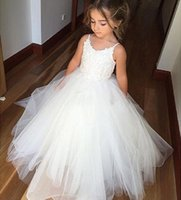 Flower Girls Lace Tulle Ball Gowns Kids First Communion Dres...