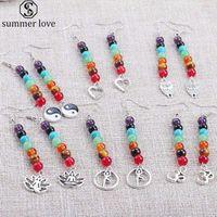 2020 New 7 Chakra longo brincos para a cura Beads Reiki Mulheres Pedra Natural Yoga Brinco étnico Casual Atacado Jóias-Z