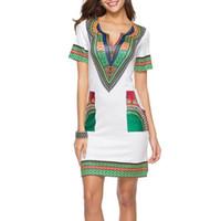 Vestido de verão das mulheres do vintage africano impressão dress senhoras manga curta casual feminino midi vestidos plus size s-3xl