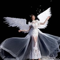 Neue Catwalk-Modelle Requisiten White Angel Feather Wings Erwachsene Größe für Dance Auto Show Party Display Supplies