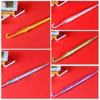 Colorful Transparent lungo rettilineo maniglia Logo ombrello automatico Nero Arcobaleno personalizzato ombrello impermeabile 8 Bone Ombrelli DH0988 T03