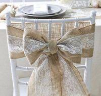 15 * 240 cm Silla de encaje de arpillera naturalmente elegante Silla de yute Pajarita Lazo para decoración de eventos rústicos de fiesta de bodas
