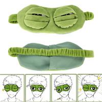 2019 New Green Rã dos desenhos animados bonitos Olhos Tampa O Eye 3D máscara triste Tampa Adormecida Resto do sono Anime Presente engraçado dormir eyemask Y1502