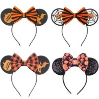 Diadema de oreja de ratón Baby Girls Bow Accesorios para el cabello de Halloween Bandas para la cabeza del cabello para niños Decoración de fiesta de moda Accesorio de diadema