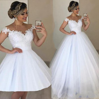 2020 White Jewel Neck Lace Wedding Dresses Ball Gown Appliqu...
