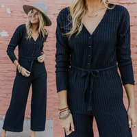 2018 Fashion Women Striped Casual Jumpsuit V- neck Playsuit P...