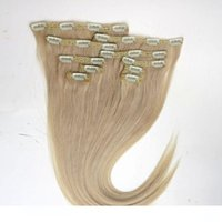 120g 10pcs 1set clip in hair extensions 18 20 22inch 613# Bl...