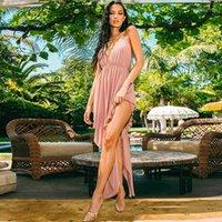 Cruz Moda pescoço assimétrico Vestido Ribbon Backless Womens vestido do verão Breve Casual Vestidos Sexy profunda V