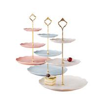 3 Tier Bolo Plate Stand Punho encaixe de prata ouro festa de casamento coroa haste de cozinha de cozinha